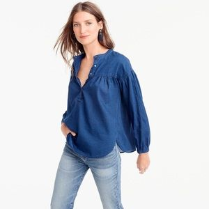 J. Crew Gathered Top In Indigo Gauze